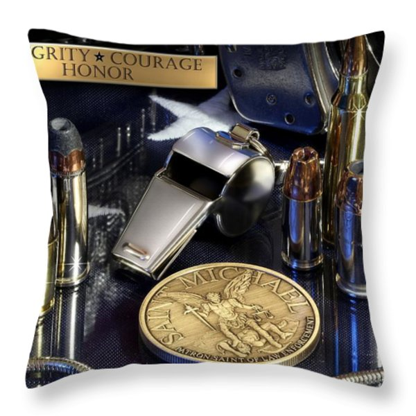 St Michael Law Enforcement Throw Pillow by Gary Yost