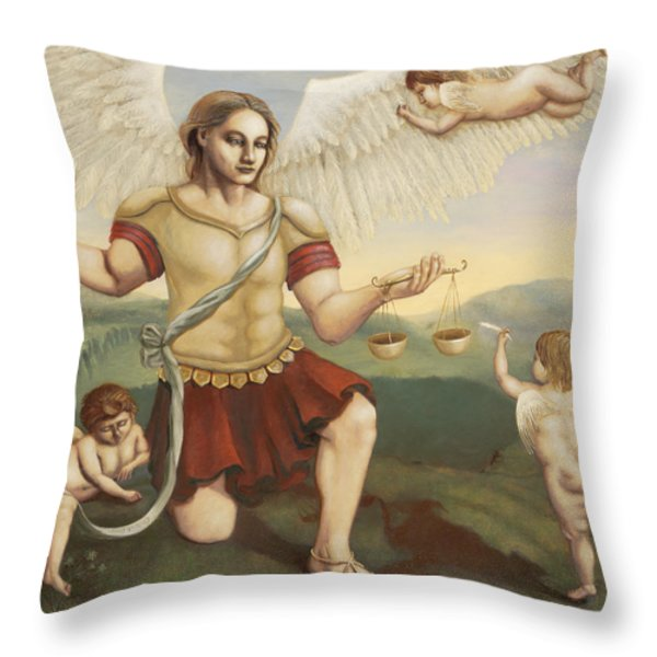 St. Michael the Archangel Throw Pillow by Shelley Irish