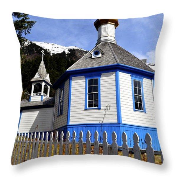 St. Nicholas Russian Orthodox Church Throw Pillow by Cathy Mahnke