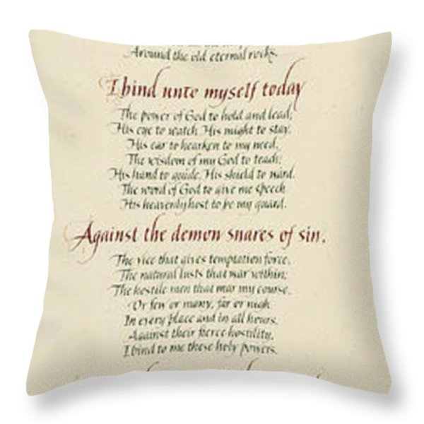 St Patrick's Breastplate Throw Pillow by Judy Dodds
