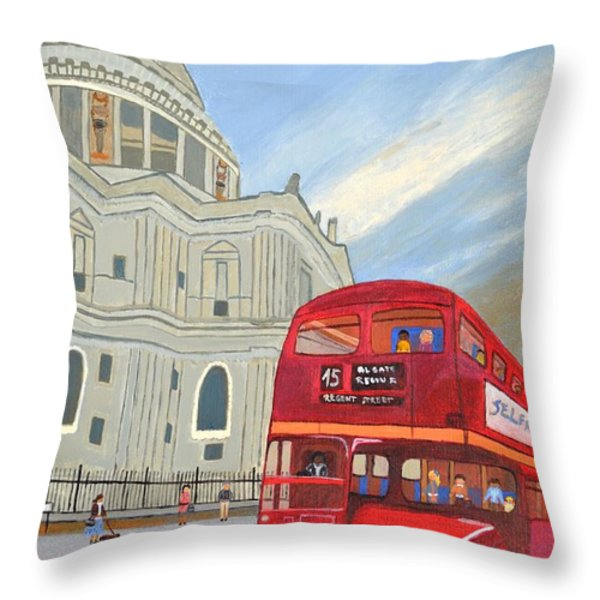 St. Paul Cathedral And London Bus Throw Pillow by Magdalena Frohnsdorff