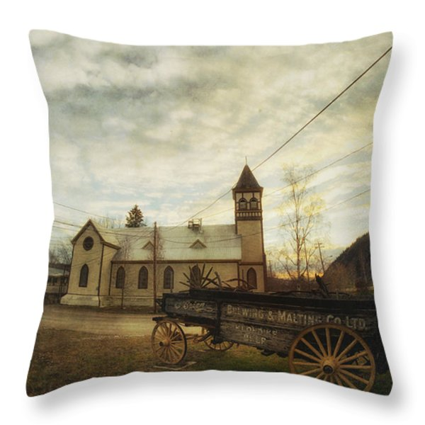 St. Pauls Anglican Church With Wagon  Throw Pillow by Priska Wettstein