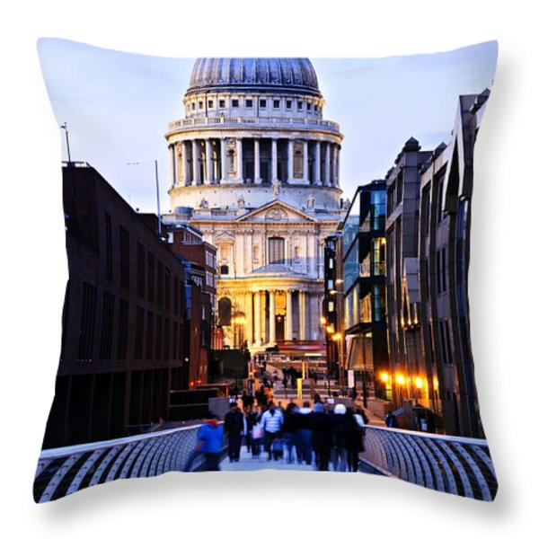 St. Paul's Cathedral London at dusk Throw Pillow by Elena Elisseeva