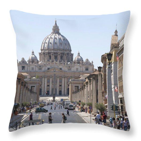 St Peter Basilica viewed from Via della Conciliazione. Rome Throw Pillow by BERNARD JAUBERT