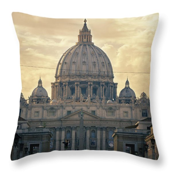 St Peter's Afternoon Glow Throw Pillow by Joan Carroll