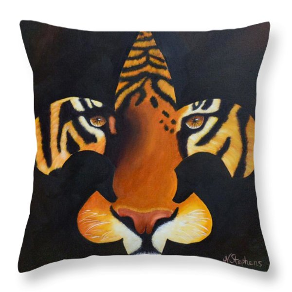 St. Tiger Throw Pillow by Nina Stephens