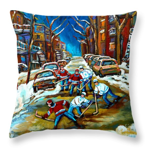 ST URBAIN STREET BOYS PLAYING HOCKEY Throw Pillow by CAROLE SPANDAU