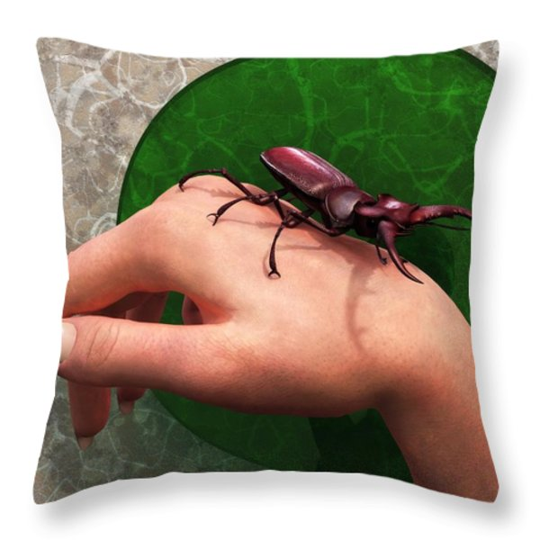 Stag Beetle On Hand Throw Pillow by Daniel Eskridge