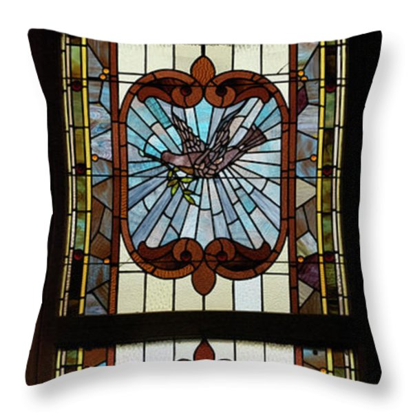 Stained Glass 3 Panel Vertical Composite 03 Throw Pillow by Thomas Woolworth