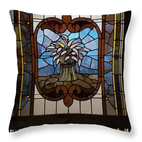 Stained Glass 3 Panel Vertical Composite 04 Throw Pillow by Thomas Woolworth