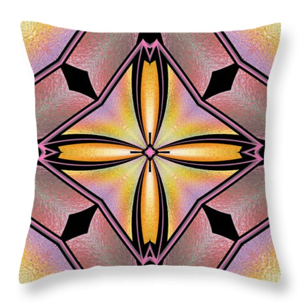 Stained Glass 6 Throw Pillow by Cheryl Young