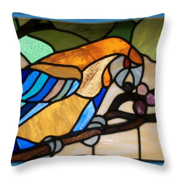 Stained Glass Parrot Window Throw Pillow by Thomas Woolworth