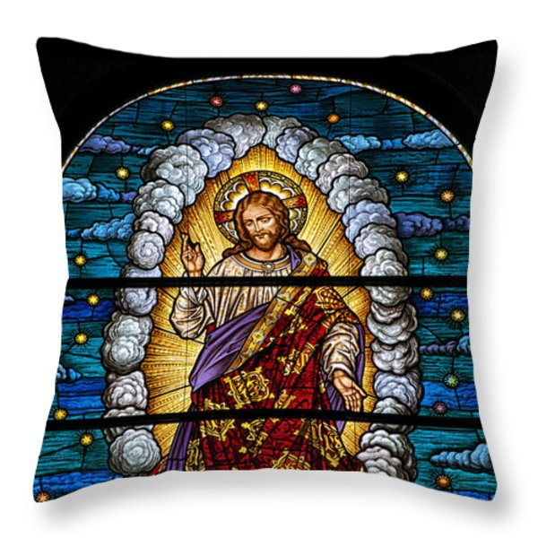 Stained Glass Pc 03 Throw Pillow by Thomas Woolworth