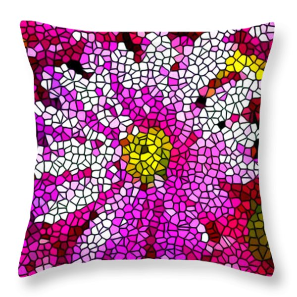 Stained Glass Pink Chrysanthemum Flower Throw Pillow by Lanjee Chee