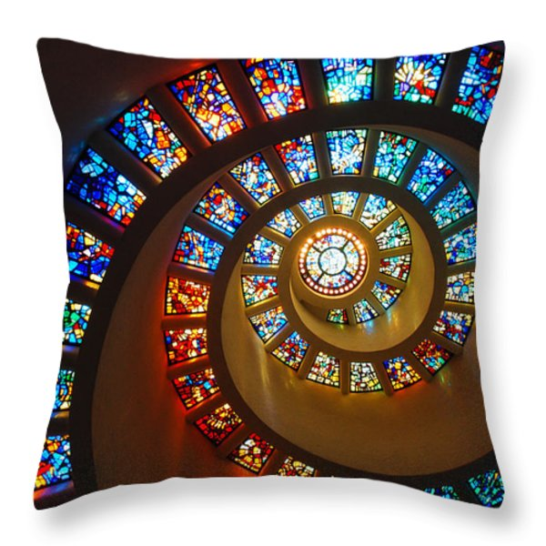 Stained Glass Spiral Throw Pillow by James Kirkikis