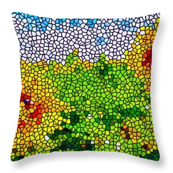 Stained Glass Sunflowers Throw Pillow by Lanjee Chee