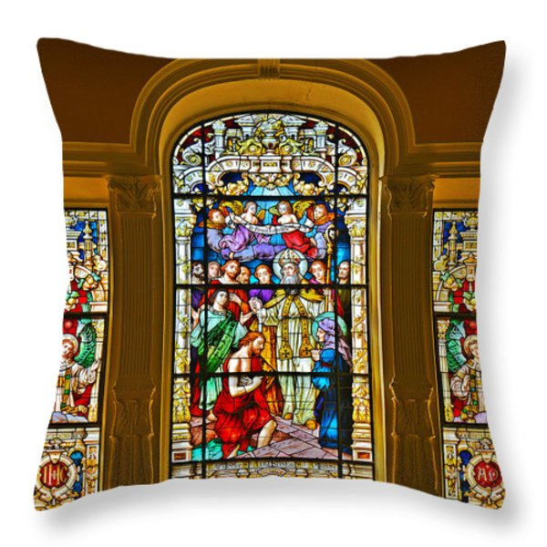 Stained Glass Window Cathedral St Augustine Throw Pillow by Christine Till