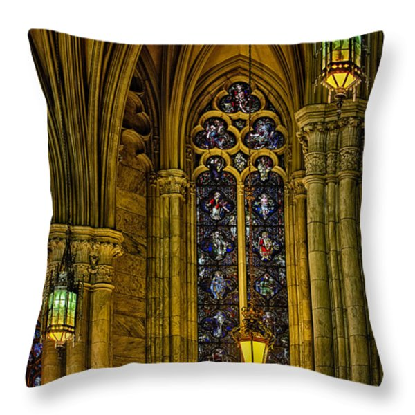 Stained Glass Windows At Saint Patricks Cathedral Throw Pillow by Susan Candelario