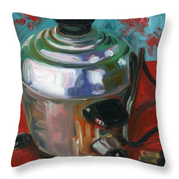 Stainless Steel Cooker of Eggs Throw Pillow by Jennie Traill Schaeffer