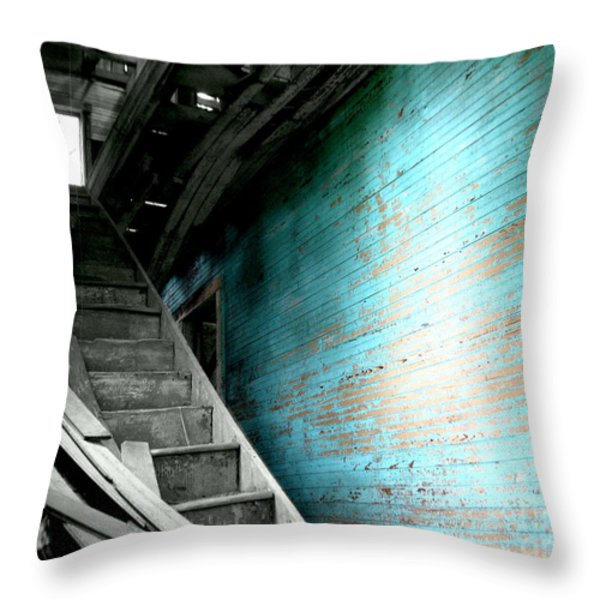 Stairway to Abandoned Throw Pillow by Amy Sorrell