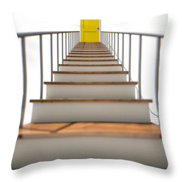 Stairway To Yellow Door Throw Pillow by Allan Swart