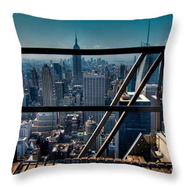 Stairways On Top Of Rockefeller Center Throw Pillow by Amy Cicconi