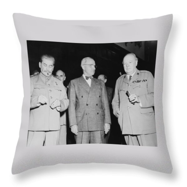 Stalin Truman And Churchill Throw Pillow by War Is Hell Store