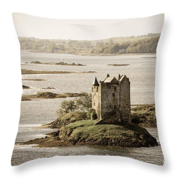 Stalker Castle Vintage Throw Pillow by Jane Rix