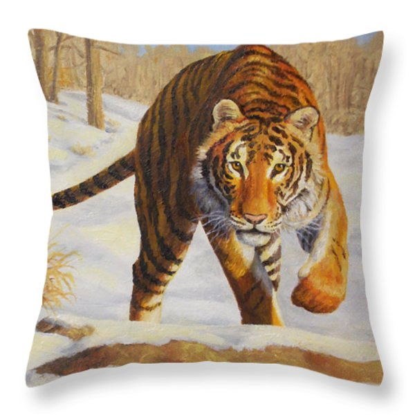 Stalking Siberian Tiger Throw Pillow by Crista Forest