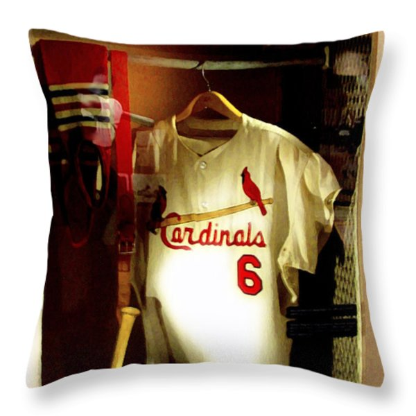 Stan The Man's Locker Stan Musial Throw Pillow by Iconic Images Art Gallery David Pucciarelli