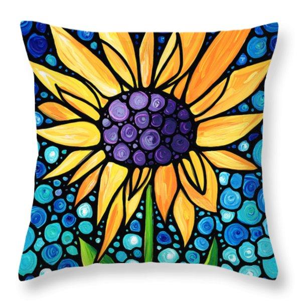 Standing Tall - Sunflower Art By Sharon Cummings Throw Pillow by Sharon Cummings