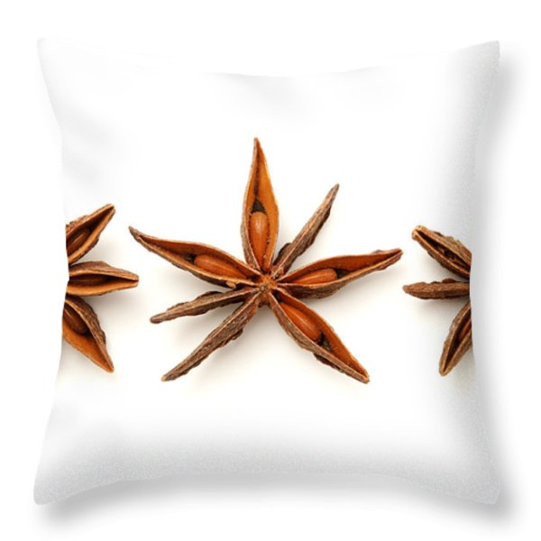 Star anise fruits Throw Pillow by Fabrizio Troiani