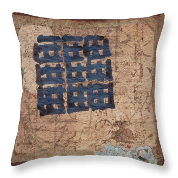 Star Chart Faded Throw Pillow by Carol Leigh