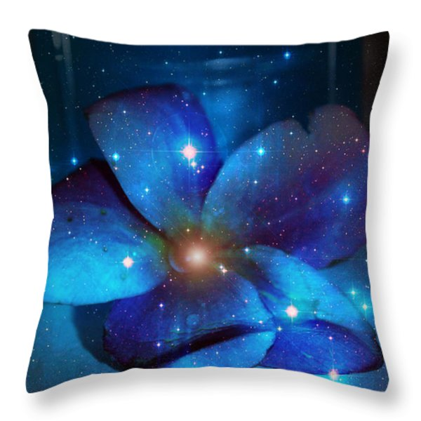 Star Light Plumeria Throw Pillow by Linda Sannuti