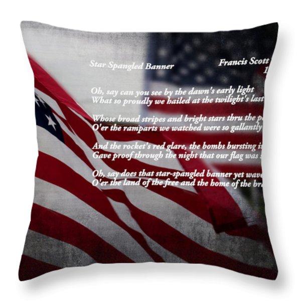 Star Spangled Banner  Throw Pillow by Ella Kaye Dickey