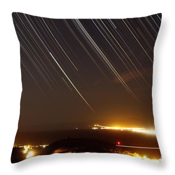 Star Trails Above A Village Throw Pillow by Amin Jamshidi