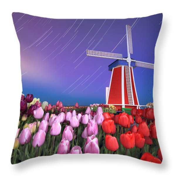 Star Trails Windmill And Tulips Throw Pillow by William Lee