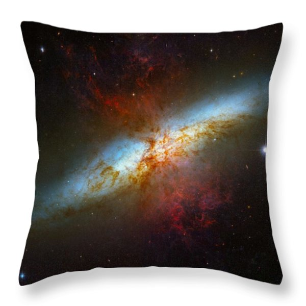 Starburst Galaxy M82 Throw Pillow by Don Hammond