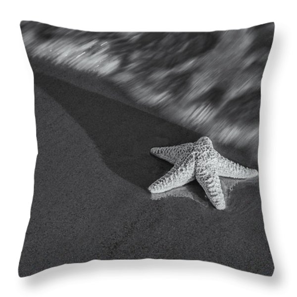Starfish On The Beach BW Throw Pillow by Susan Candelario