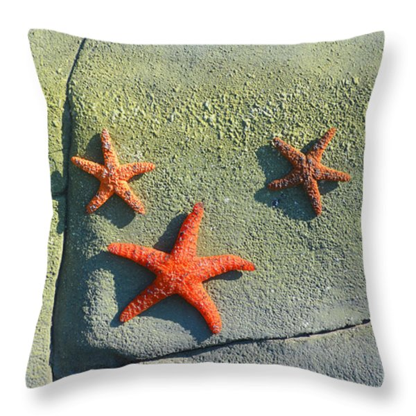 Starfish On The Rocks Throw Pillow by Luther   Fine Art