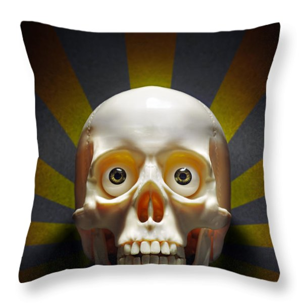 Staring Skull Throw Pillow by Carlos Caetano