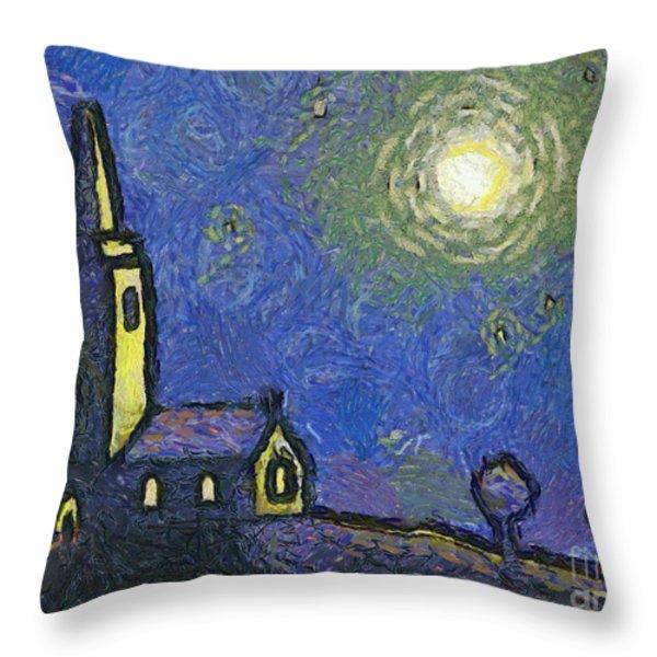 Starry Church Throw Pillow by Pixel Chimp