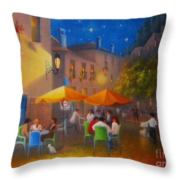 Starry Night Cafe Society Throw Pillow by Joe Gilronan