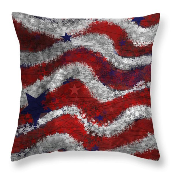 Starry Stripes Throw Pillow by Carol Jacobs
