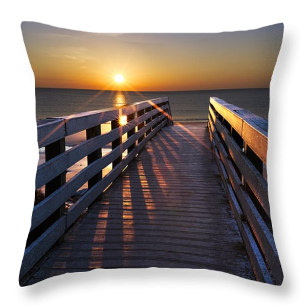 Stars on the Boardwalk Throw Pillow by Debra and Dave Vanderlaan
