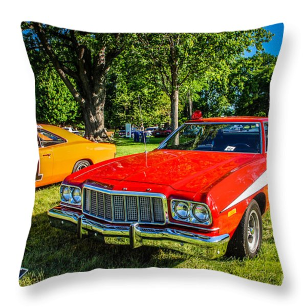 Starsky And Hutch Ford Gran Torino Throw Pillow by Grace Grogan