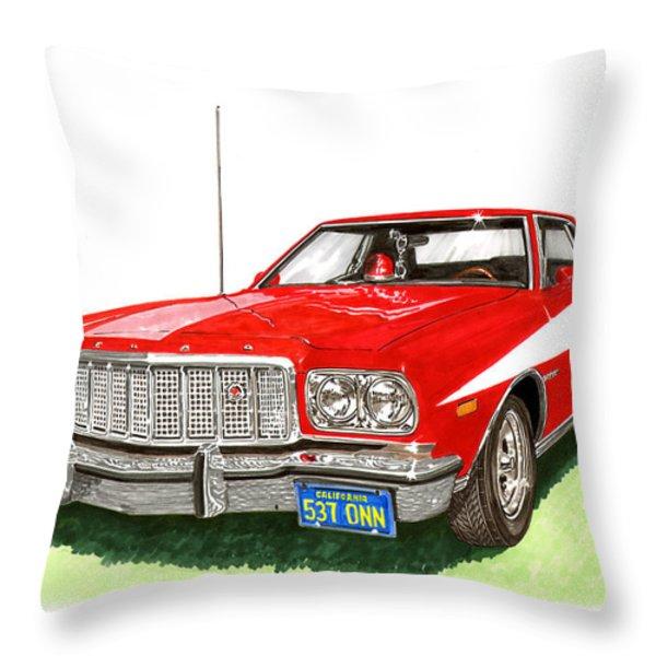 Starsky Hutch 1974 Ford Gran Torino Sport Throw Pillow by Jack Pumphrey