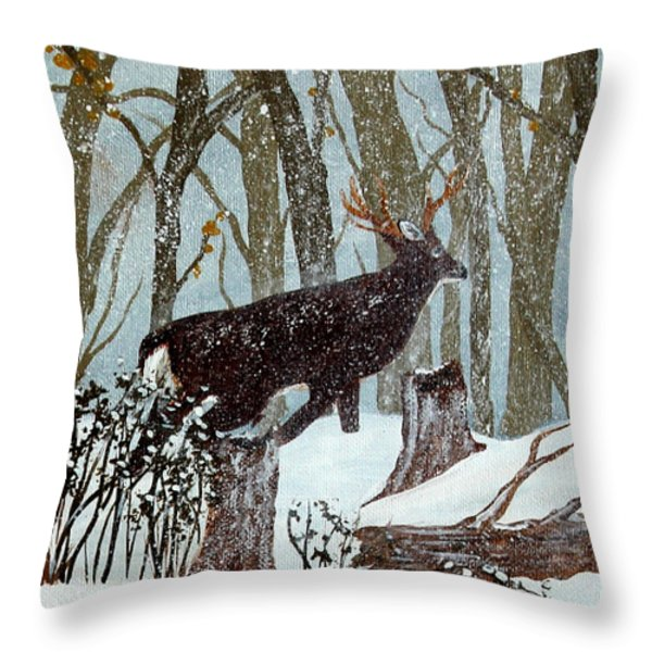 Startled Buck - White Tail Deer Throw Pillow by Barbara Griffin