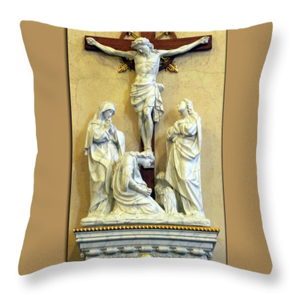 Station Of The Cross 12 Throw Pillow by Thomas Woolworth