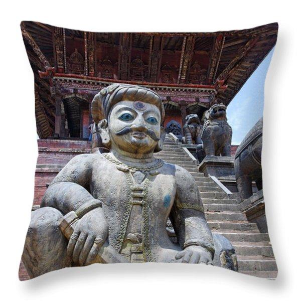 Statue at the Nyatapola Temple at Bhaktapur in Nepal Throw Pillow by Robert Preston